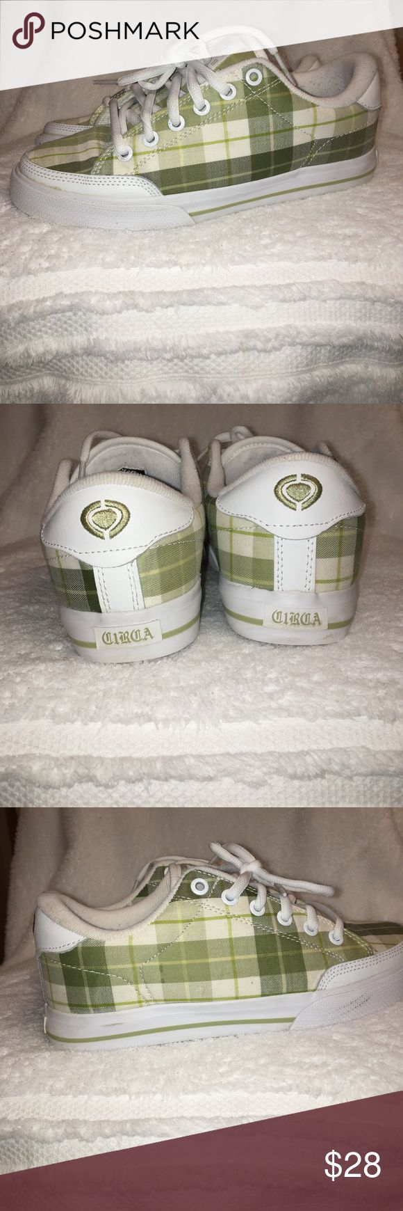 Like new plaid skate shoes White and olive green plaid Circa skate shoes. Worn only twice - mint condition. Does not come with box. Size 8 Circa Shoes Sneakers