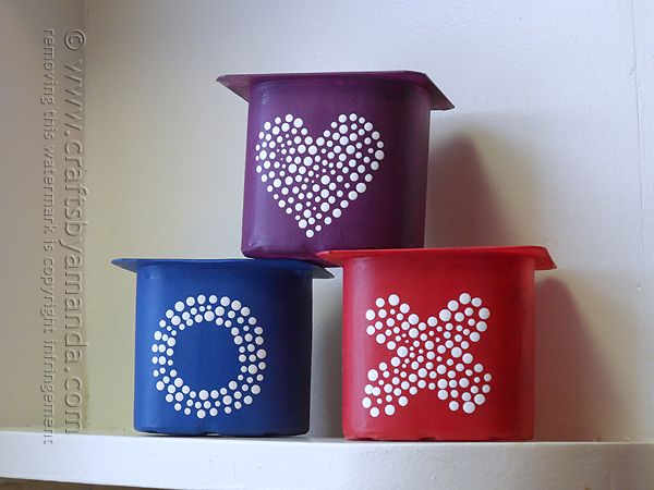 Recycled Yogurt Container Herb Pots - Crafts by Amanda