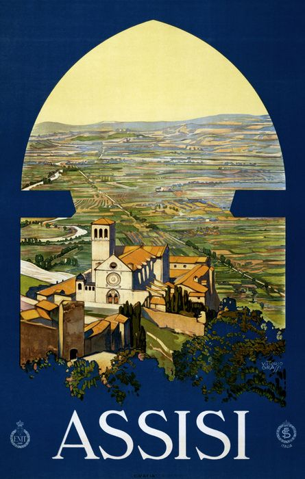 Assisi. Travel poster by Vittorio Grassi shows Assisi and the Umbrian countryside as if from a window in a tower. Print by Grafia, Roma, for ENIT (Ente Nazionale Italiano per il Turismo), ca. 1920