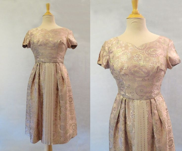 Pink and Gold Brocade Dress by LouisaAmeliaJane on Etsy