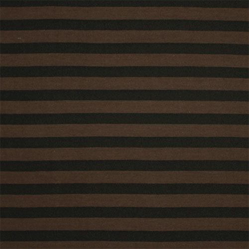 Brown Black Stripe Cotton Jersey Blend Knit Fabric