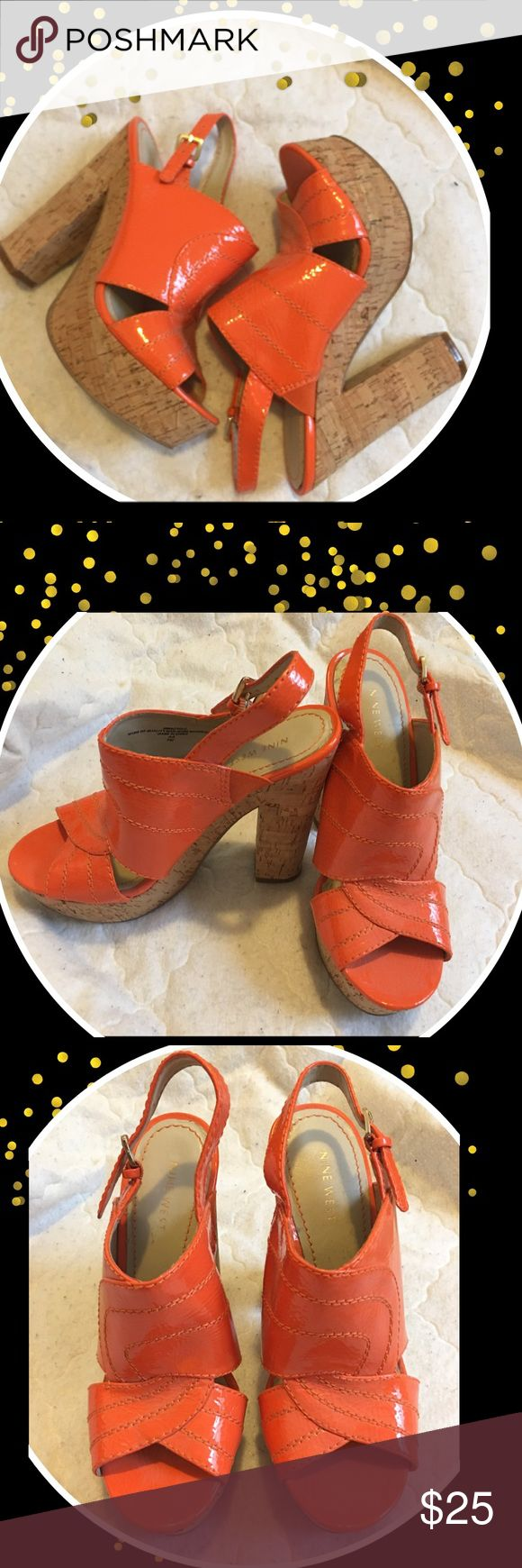 """Nine West orange shoes Gently used . Nice,Nine West Size 7M Orange/Offwhite Shoes  Maker/Markings: Nine West  Size; 7M ; Good-Condition  Approximate Measurements Toe to Heel:9"""" Width:3"""" Heel Height:6"""" Boot Height:  Color Orange/Offwhite Nine West Shoes Sandals"""