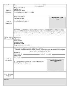 Special Education Weekly Lesson Plan Template