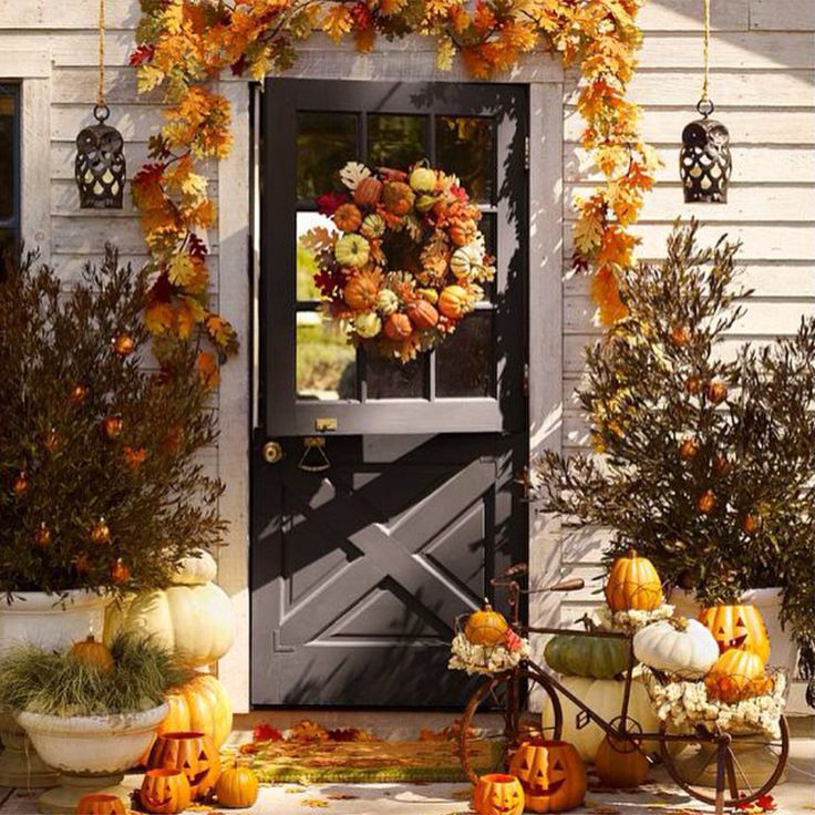 Beautiful fall front porch pottery barn fall Beautiful fall front porches