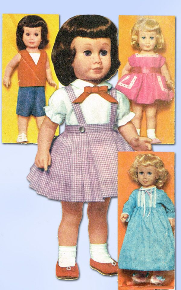 1960s Vintage Advance Sewing Pattern Group F Chatty Cathy Doll Clothes Set Original
