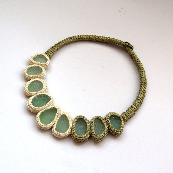 Bib necklace 9 sea glass statement big bold necklace Valentine gift for her UK beach Wedding collar pastel yellow olive green crochet OOAK