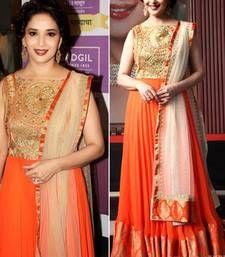 Buy orange color zari work net & raw silk fabric  semi stiched with bottom bollywood-salwar-kameez-online online