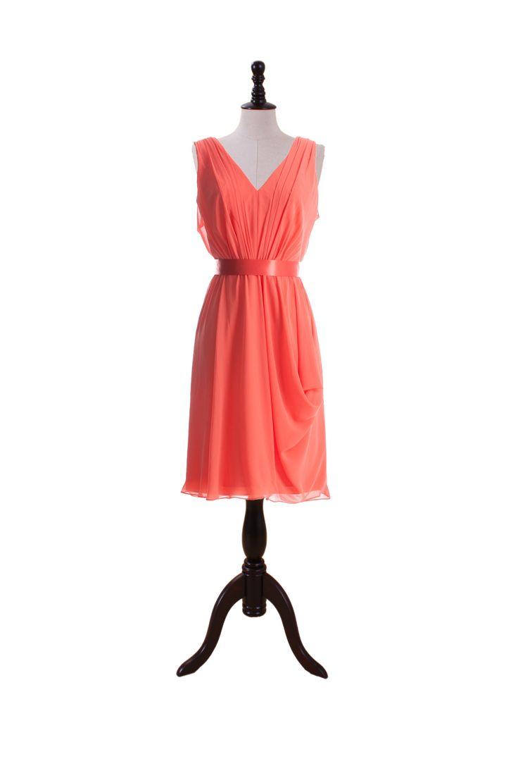 Supple V-Neck Chiffon Dress with Satin Belt