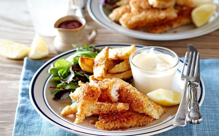 Crispy and golden on the outside, tender and flaky in the middle, these crunchy fish goujons make a brilliant weeknight family dinner. Serve them up with homemade wedges for fish and chips at home.