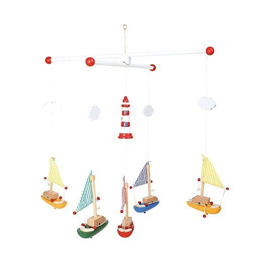 """Legler Mobile """"Segelboote mit Leuchtturm"""" aus Holz, bunt lackiert, ein toller Blickfang für das Baby- und Kinderzimmer, von Geburt an geeignet"""