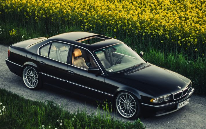 Download wallpapers BMW 7-series, 4k, 740iA, stance, E38, tuning, black e38, BMW