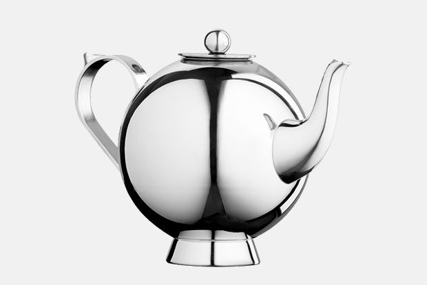 Spheres Tea Infuser Small  http://www.nickmunro.com/shop/tea-and-coffee/  Round tea infuser with infuser basket made from 18/10 stainless steel, with insulated steel handle and knob. Non-drip spout.  Dishwasher safe.  Dimension:  Capacity: 0.5 litre  Height: 12 cm  Diameter: 9.5 cm