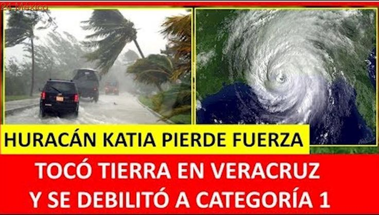 HURACÁN KATIA TOCÓ TIERRA EN MÉXICO- VERACRUZ HOY 2017. HURACÁN KATIA BAJA A CATEGORIA 1 EN VIVO HOY
