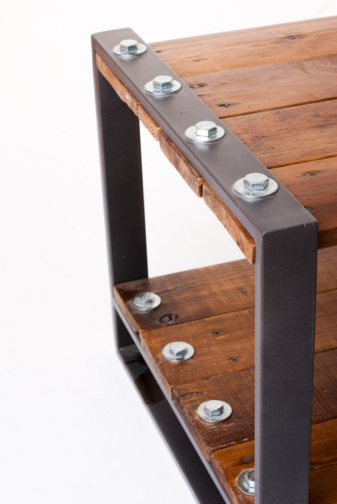 Industrial style low table, made with recycled wood and steel. Perfect for use a…