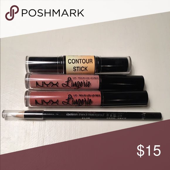 💋Makeup Bundle (all new!) Contour Stick by Sugar Queen, NYX Lingerie Liquid Lipstick in Baby Doll and Bedtime Flirt, and a White Eyeliner Pencil. All are new and unused!! NYX Makeup