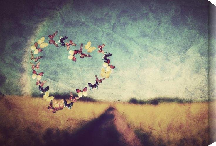 Heart Shape Made of Butterflies Canvas Art