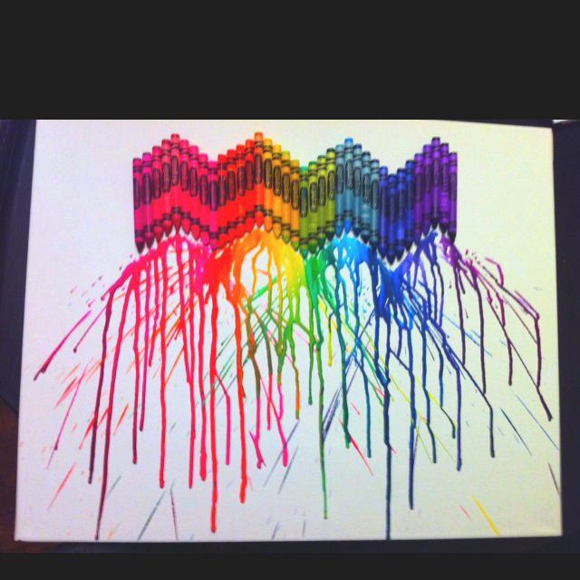 melted crayons on canvas did it myself pinterest