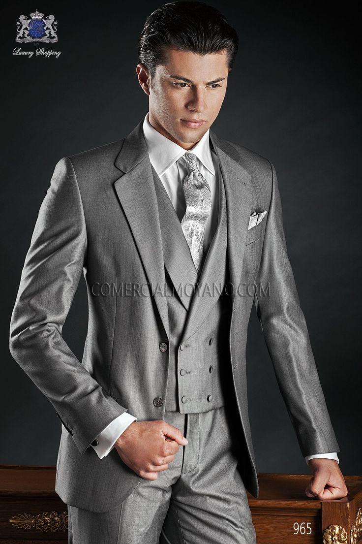 Traje de novio italiano a medida lana seda gris modelo 965 Ottavio Nuccio Gala colección Gentleman 2015.