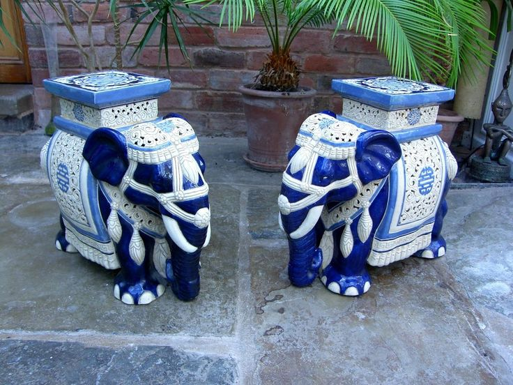 Antique Plant Stands Ceramic Elephants Garden Seat