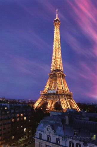 Eiffel Tower at Dusk Prints - at AllPosters.com.au