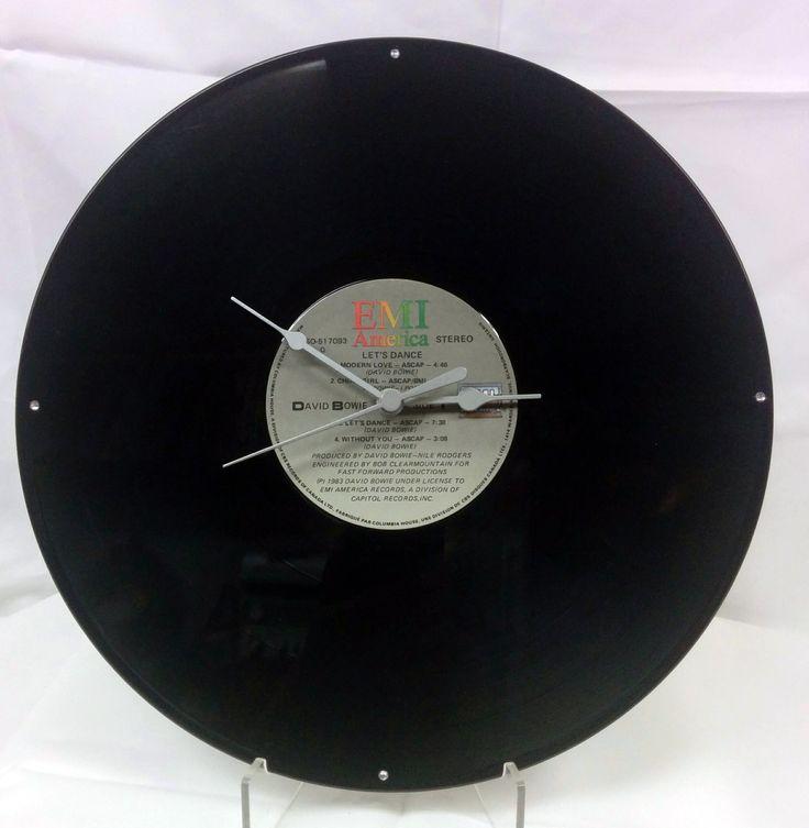 33 1/3 RPM Vinyl Record Clock David Bowie by FunkyVinylArt on Etsy