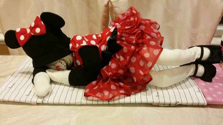 Minnie Mouse themed baby diaper cake