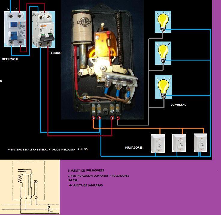 Esquemas eléctricos: minutero escalera interruptor de mercurio 3 hilos