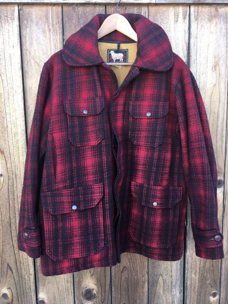 VTG Woolrich Red Black Plaid Check HEAVY TWEED Wool Mackinaw Hunt Coat Jacket 42  | eBay