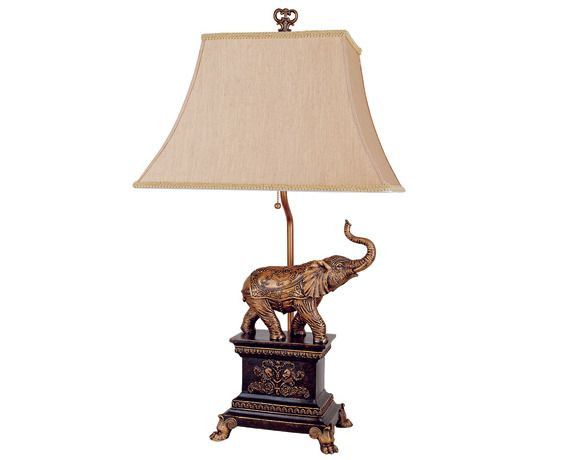 Crown mark single elephant table lamp with fabric lamp shade