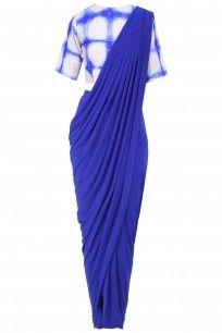 Royal Blue Draped Saree with Tie and Dye Blouse #Royalblue #drapes #saree #tieanddye #modernsaree #chic #comfortstyle #Mintblush #perniaspopupshop #getitnow #happyshopping