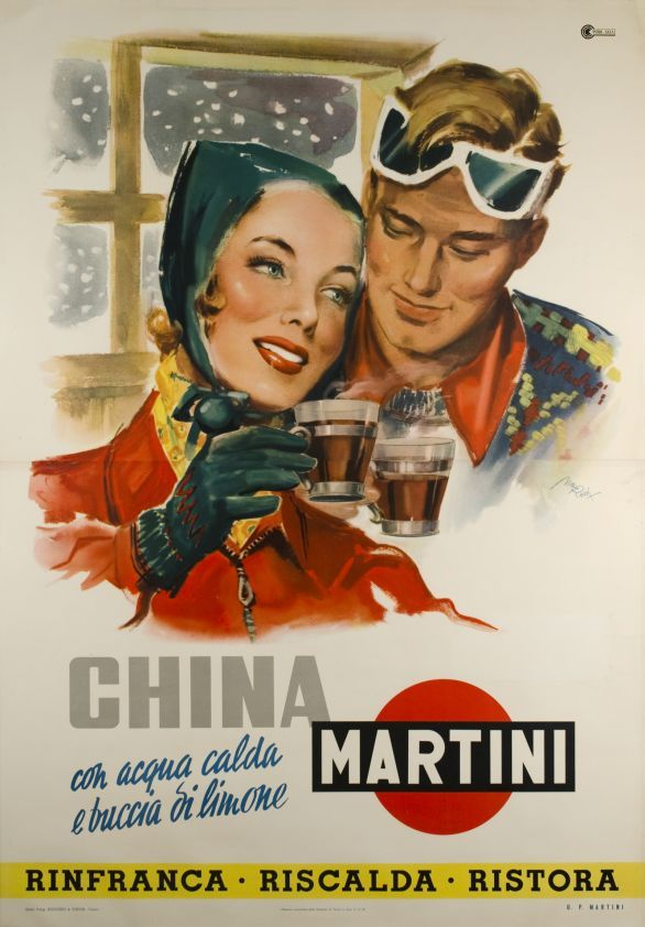 "Vintage Italian Posters ~ #Italian #vintage #posters ~ Have a romantic punch with ""Martini"" the Italian bitter - 1950"
