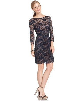 $86 Jessica Howard Three-Quarter-Sleeve Ruched Lace Dress