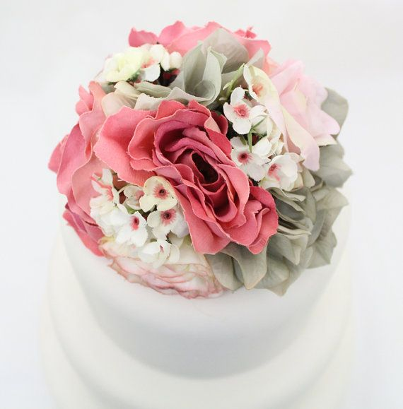 The 186 best it tops the cake silk floral wedding cake toppers and wedding cake topper pink rose gray hydrangea silk flower wedding cake topper silk flower cake topper gray and pink wedding junglespirit Image collections
