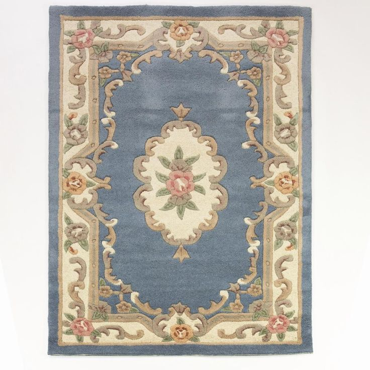 Lotus Premium Blue Chinese Aubusson Wool Rug In Various Sizes Shapes And Runner