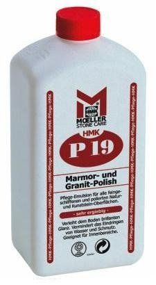 HMK P19 Marble & Granite Polish 1 Liter by HMK P19 Marble & Granite Polish. $22.85. HMK P19 Marble & Granite Polish  APPLICATION: A modified silicone wax base conditioner and maintenance cleaner/polish/protector for interior (conditional exterior) use on floors, walls, counter tops and stairways for all polished mineral surfaces. HMK® P19 enhances the stone's color and texture. It further protects against dirt and water infiltration and creates a high luster and sl...