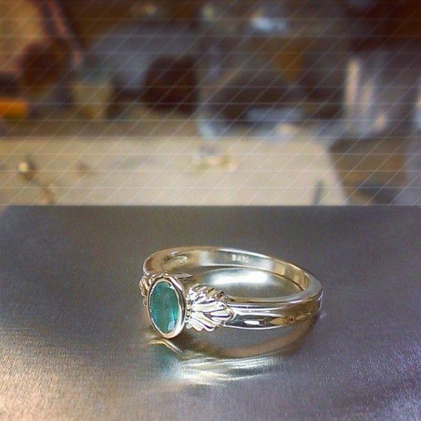 Set this last week. Bezel set natural emerald....