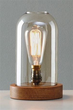 Uk version of the anthropologie edison lamp glass dome and wood table lamp from the next
