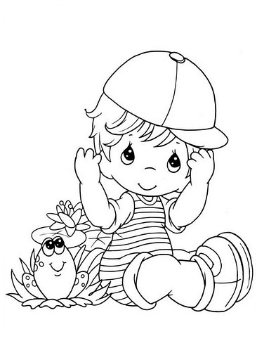 I'm a boy! Precious Moments drawing boy in cap with frog