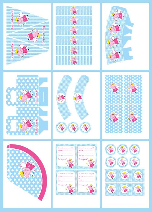 Peppa Pig Fairy in Light Blue Free Printable Kit.