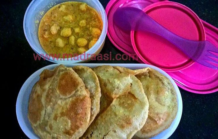In Box - Poori and Chenna Masala  Recipe for Poori - https://madraasi.com/ 2014/05/12/poori/  Recipe for Channa Masala - https://madraasi.com/2014/05/26/channa-masala/  #madraasi #lunchbox #lunchboxrecipes #lunchbag #kidslunchbox #lunchboxideas #mylunch #Indianlunchbox #mylunch #lunchboxrevolution #lunchtime #tamillunchbox #southIndianlunchbox #southIndianlunchboxideas #tamillunchboxideas #vegetarianlunchbox
