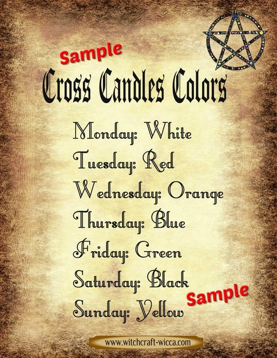 Witchcraft Candle Magic Grimoire Pages Candle Color Meaning Etsy Wicca Candles Cross Candles Candle Color Meanings