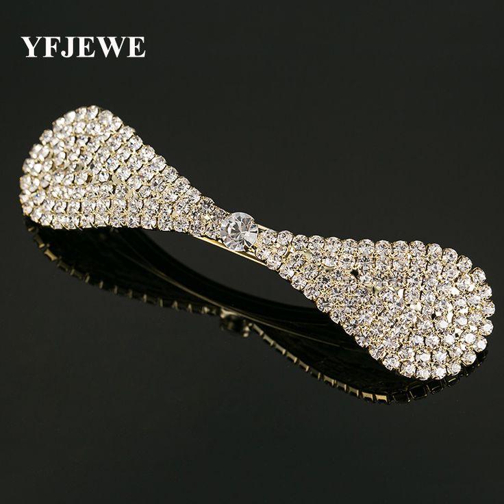 YFJEWE Mode Haaraccessoires Haar dragen boog Crystal Haar Clip Pins Bruiloft Decoratie Bruids Hoofd Sieraden voor vrouwen gift # H012
