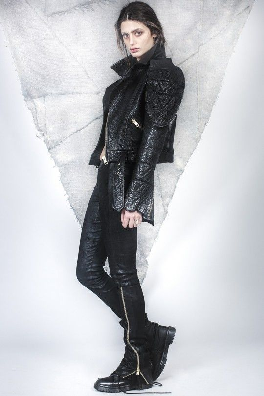 #ALMAZ Leather Structured Jacket /// Black Leather and Lace Leggings