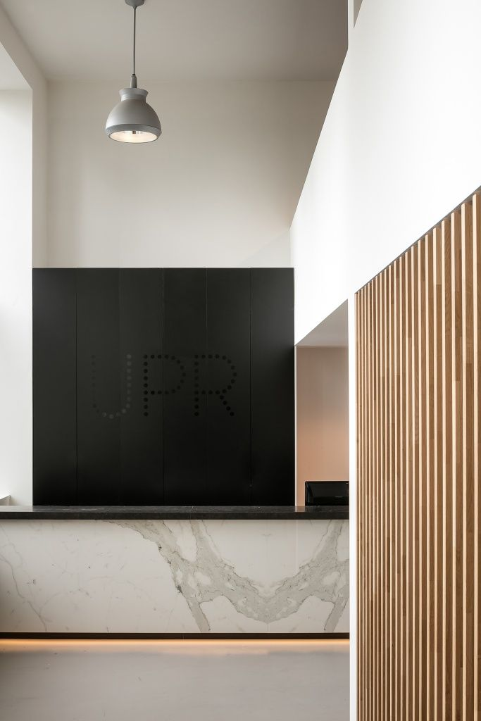 office reception area. upr showroom by dieter vander velpen architects photo thomas de bruyne reception counteroffice office area