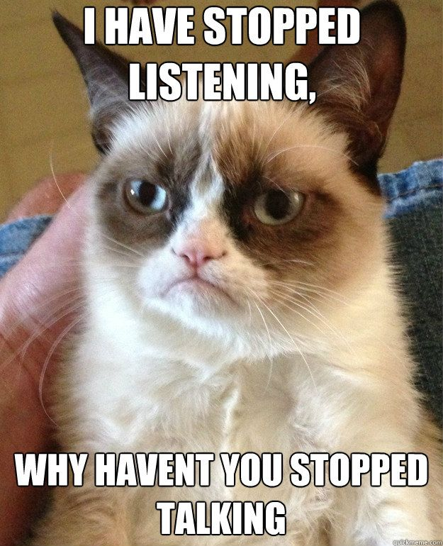 i have stopped listening why haven't you stopped talking - Grumpy Cat