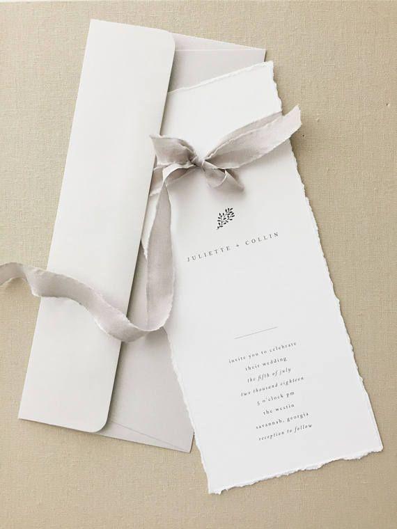 Juliette Simple Wedding Invitation By August And White | Minimalist Wedding  Invitation | Letterpress Wedding Invitation