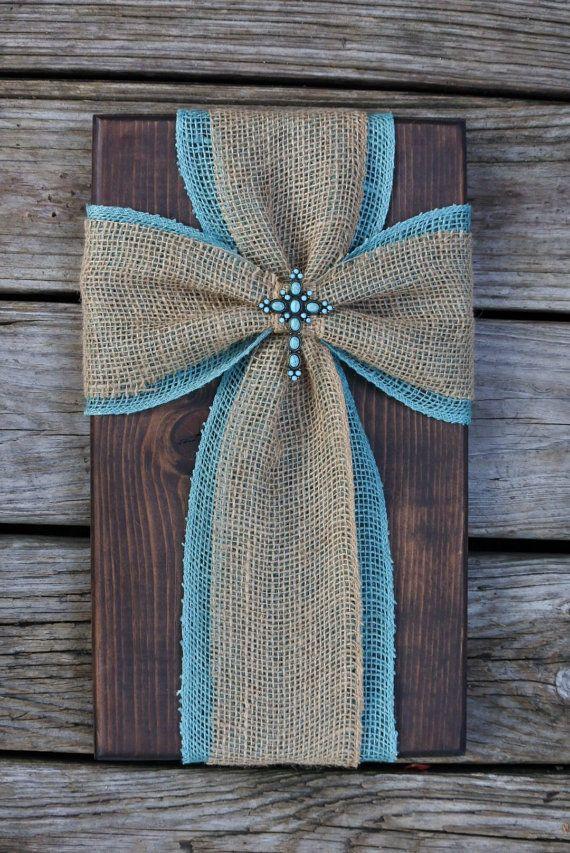 Burlap cross on wood fabric cross on wood by SleepCreateRepeat