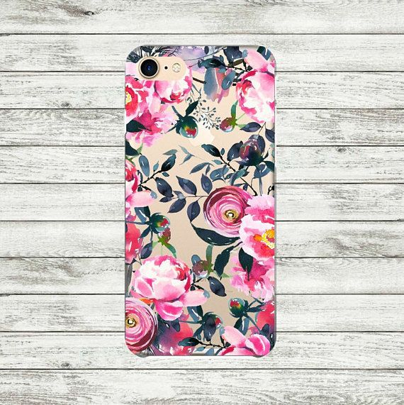 Flowers iPhone 7 Plus case Peonies Transparent iPhone 7 Case