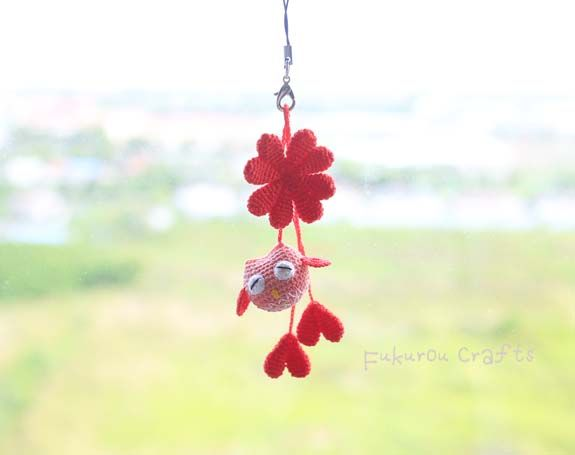 fukuroucrafts: Crochet Lucky charms, lucky doll, red owl doll, cr...