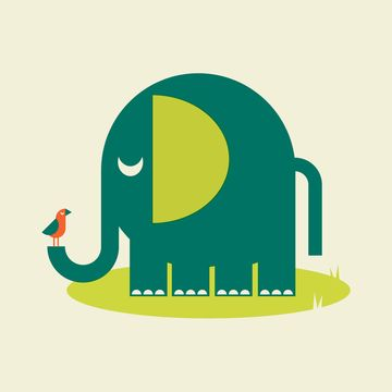 elephant. Kids room green and yellow geometric pattern